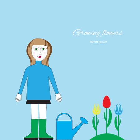 flower bed: Woman with watering can standing near a flower bed. Cultivation of flowers, floriculture vector illustration. Figure gardening by hand, isolated.