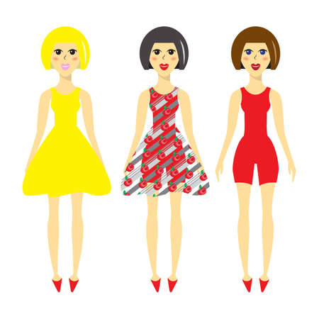 make up model: Cartoon model in different dresses, elegant fashion model in flat style