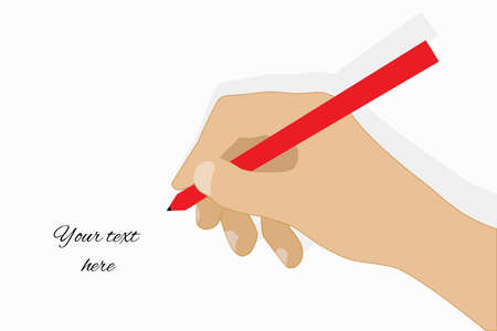 Simplistic hand with pen writing on paper. Drawing vector illustration isolated.