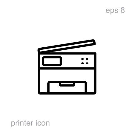 inkjet: Simple printer vector icon isolated. Laser or inkjet printer icon for web, advertising, layout design