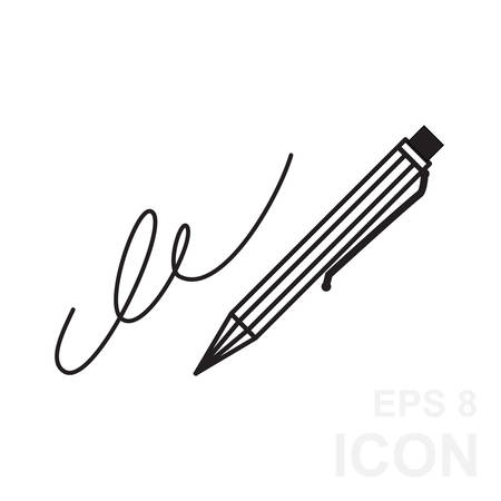 ratify: The signature, pen, undersign, underwrite, ratify icon.  Flat Vector illustration isolated