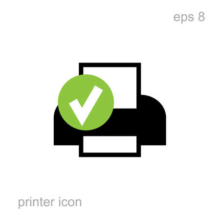 inkjet: Simple printer vector icon isolated. Laser or inkjet printer icon for web, advertising, layout design. Receipt printer, office equipment, vector illustration, interface element