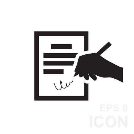 pacto: El icono del contrato. Acuerdo y firma, pacto, acuerdo, icono de la convención en estilo plano, ilustración vectorial