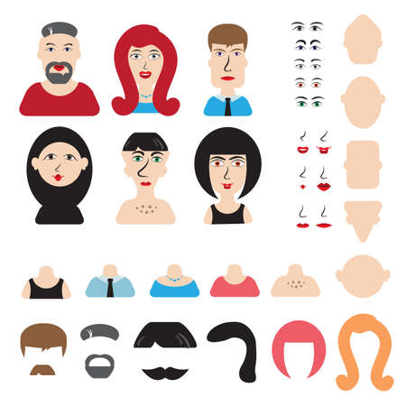 constructor: Men and women head and face constructor or avatar constructor. You can easily create your own character