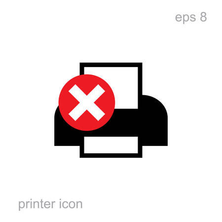 laser printer: Simple Vector Printer Error Icon isolated. Laser or inkjet printer icon for web, advertising, layout design Illustration