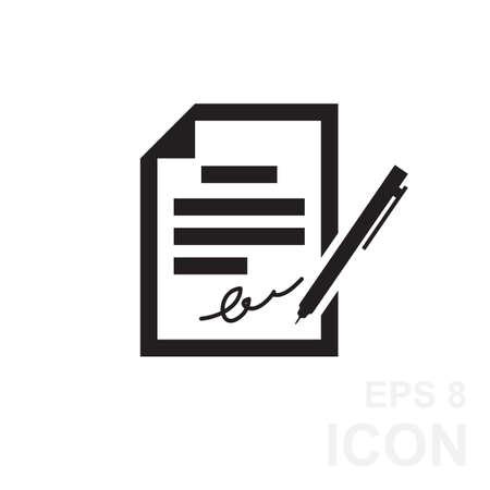 pacto: El icono del contrato. Acuerdo y firma, pacto, acuerdo, icono de la convenci�n en estilo plano, ilustraci�n vectorial