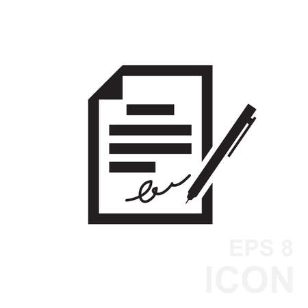 pact: The contract icon. Agreement and signature, pact, accord, convention icon in flat style, vector illustration Illustration