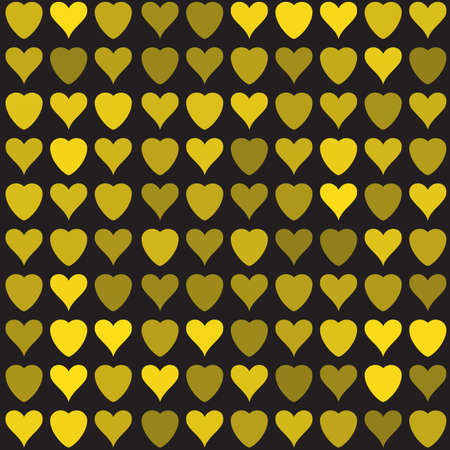 weft: Simple golden vector hearts pattern. Colorful stylized ticker background for paperhangings, wrapper, contexture, weft, fabric, cover Illustration
