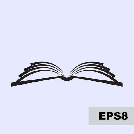 Open book vector simple icon. Magazine, library or school logo isolated, education symbol
