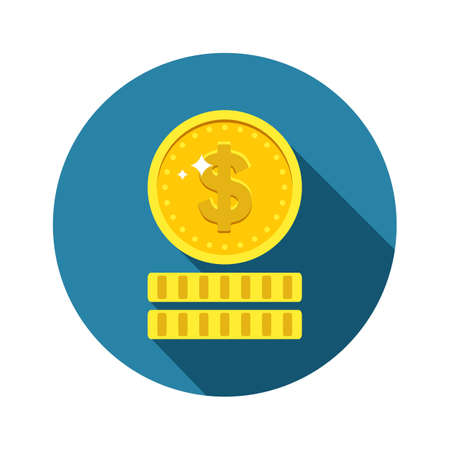 monet: Dollars money coin icon in flat style with long shadow. Vector symbol of investments isolated