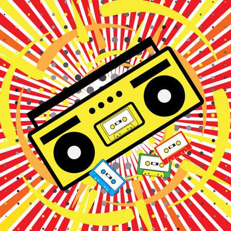 Boombox vecteur icône. L'explosion de la musique, disco, années 90, la cassette