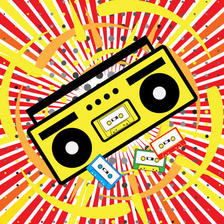 boombox: Boombox vector icon. The explosion of music, disco, 90s, cassette Illustration