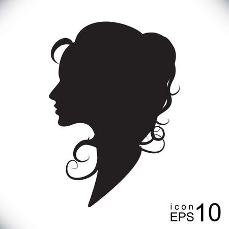 lady silhouette: Set of female profiles with different hairstyles