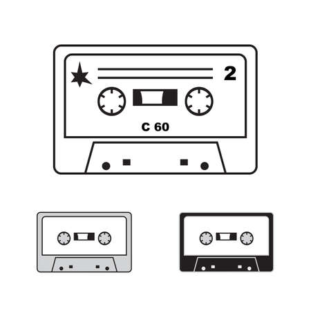 compact cassette: Vector audiocassettes isolated. 90s illistration, compact cassette on white background Illustration