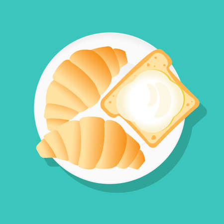 Croissants and bread and butter on a white plate. Flat style icon Illustration
