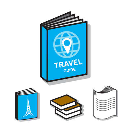 waypoint: Travel guide book vector flat icons. Creative illustration of blue book, globe and waypoint map symbol for holidays, planning vacation, tourism. Eiffel Tower hand drawn picture