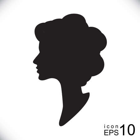 cameo: Vector silhouette cameo isolated. Women profile contour, outline,  drawing.