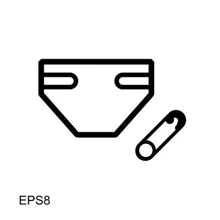 Flat vector Diaper icon for web and mobile applications. It can be used as - logo, pictogram, icon, infographic element. Illustration