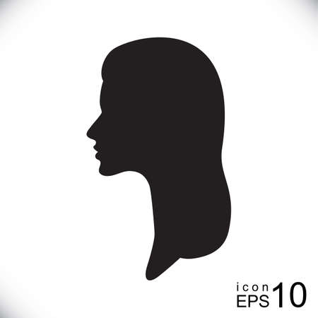 cameo: Silhouette of a female head, womans profile or logo for hairdresser or beauty salon Illustration