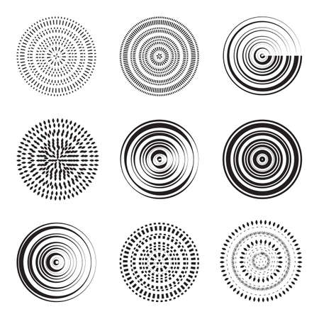 ripple effect: Vector monochrome abstract circle element. Concentric circles collection, ripple effect. Vector.