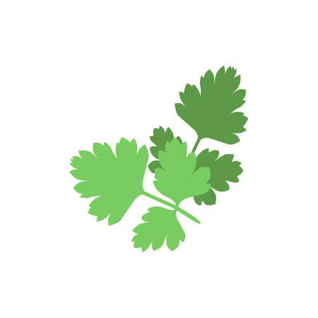 Sylwetka zielonej pietruszki na białym tle. ikon wektorowych w stylu płaskie izolowane Ilustracje wektorowe