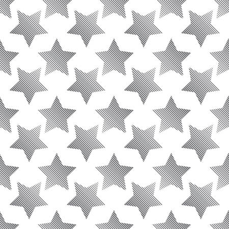 estrellas cinco puntas: Seamless pattern of striped black five-pointed stars isolated on white background