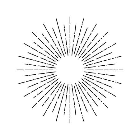 Linear drawing of rays of the sun. Light rays of burst. Vintage style, Design elements.