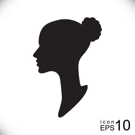 cameo: Silhouette of a female head, womans profile or logo for hairdresser or beauty salon. Lady head silhouette vector EPS10