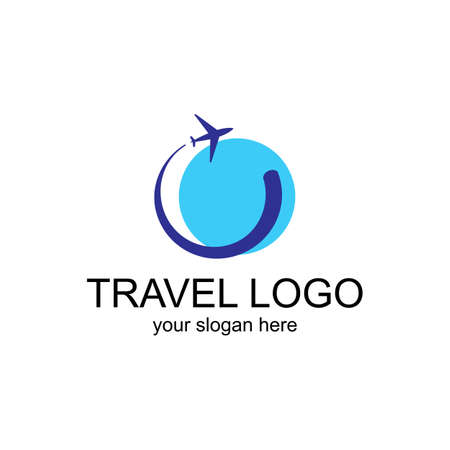 Travel Logo Template. Vector Design for the booking office or travel agency Çizim
