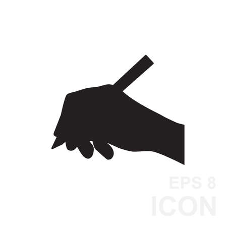 hand silhouette: Hand with pen vector icon isolated.  Simple hand and ball pen black vector silhouette