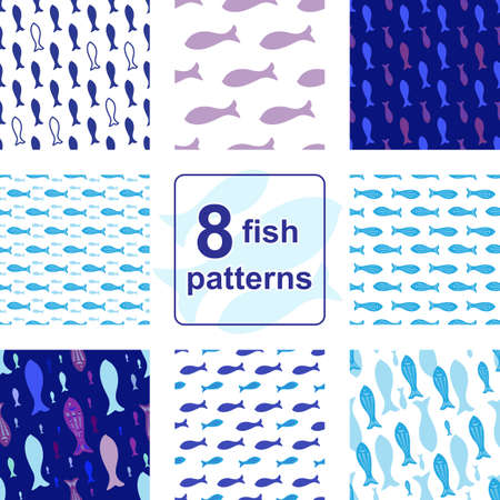 fish form: Blue Vector Seamless pattern set with fish silhouettes. Endless background collection