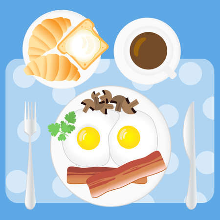 bread and butter: Breakfast vector set in flat style. Fried eggs, bacon, mushrooms, parsley, coffee, croissants, bread and butter on white plates Illustration