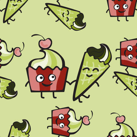 frozen yogurt: Hilarious ice cream and cake with cherry walk together. Happy friends muffin and frozen yogurt comic characters. Hand-drawn seamless pattern. Childish green dessert background  for print, menu, package design, wrapping, textile, web, cafe, restaurant, pas