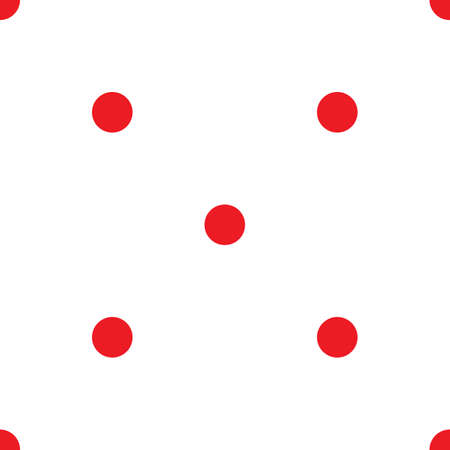 red point: Abstract monochrome geometric pattern, seamless vector background. Simple red and white repeating texture. Modern contrast graphic with dots, circle, ball or point. Illustration