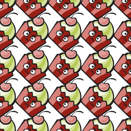 resentful: Muffin comic character. Resentful hand-drawn cake, ice cream or  frozen yogurt vector seamless pattern. Childish background with cherry for print, menu, package design, wrapping, textile, web, cafe, restaurant, pastry shop