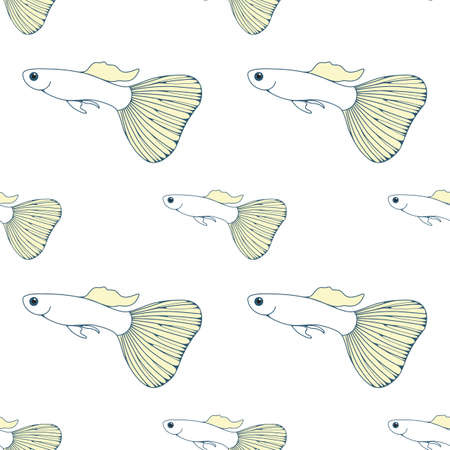 endless: Blue Vector Seamless pattern with fish silhouettes. Endless background