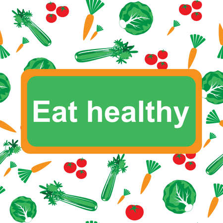 eat healthy: Eat healthy background, poster or banner with phrase eat healthy  with trendy flat icons and signs of vegetables - vector illustration