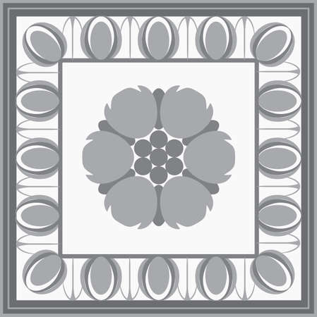 architectural design: Roman classical architectural design element with flower. Vector illustration isolated.
