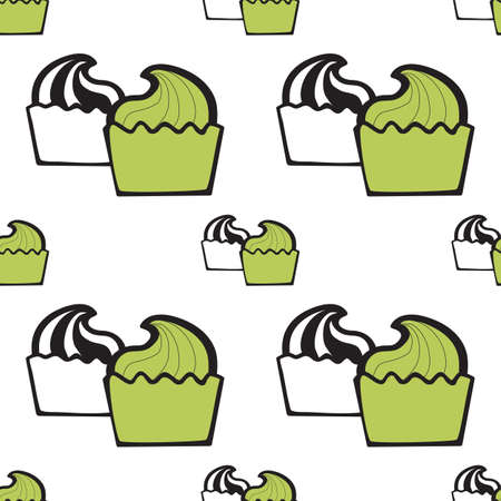pastry shop: Green pistachio ice cream, cake or frozen yogurt seamless background. Hand-drawn pattern for print, menu, package design, wrapping, textile, web, cafe, restaurant, pastry shop