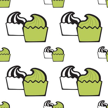 frozen yogurt: Green pistachio ice cream, cake or frozen yogurt seamless background. Hand-drawn pattern for print, menu, package design, wrapping, textile, web, cafe, restaurant, pastry shop