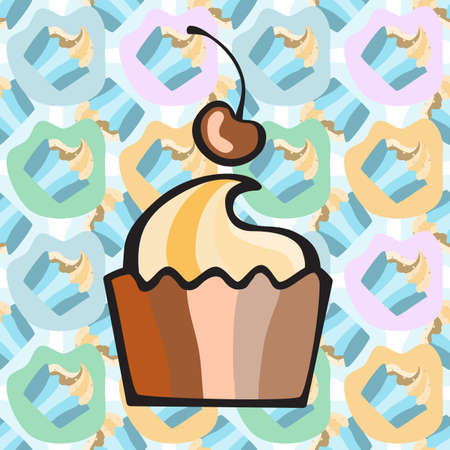 print shop: Ice cream, cake or frozen yogurt seamless background. Hand-drawn pattern for print, menu, package design, wrapping, textile, web, cafe, restaurant, pastry shop