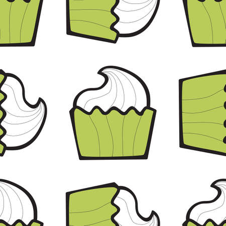 Sundae ice cream, cake or frozen yogurt seamless background. Hand-drawn pattern for print, menu, package design, wrapping, textile, web, cafe, restaurant, pastry shop Illustration