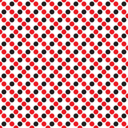 ball point: Abstract monochrome geometric pattern, seamless vector background. Simple black, red and white repeating texture. Modern contrast graphic with dots, circle, ball or point. Illustration