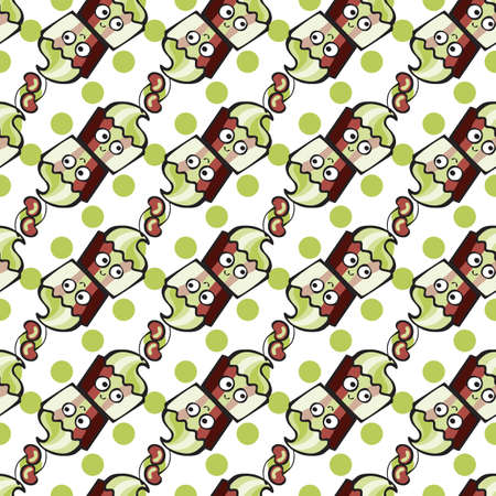 Green pistachio ice cream, cake or frozen yogurt seamless background. Hand-drawn pattern for print, menu, package design, wrapping, textile, web, cafe, restaurant, pastry shop