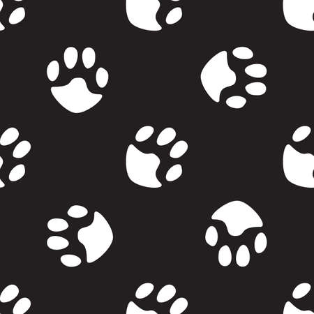 cat paw: Black and white pattern with cat paw. Seamless vector hand drawn background