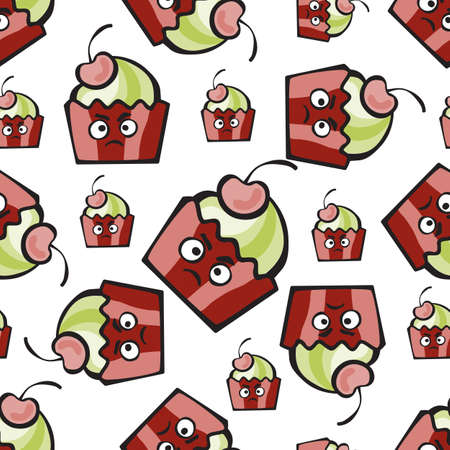 Muffin comic character. Resentful hand-drawn cake, ice cream or  frozen yogurt vector seamless pattern. Childish background with cherry for print, menu, package design, wrapping, textile, web, cafe, restaurant, pastry shop
