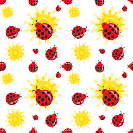 Cute ladybug cartoon seamless pattern. Bright colorful summer background