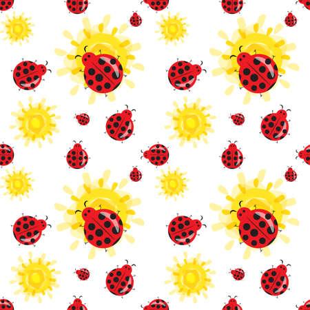 Cute ladybug cartoon seamless pattern. Bright colorful summer background