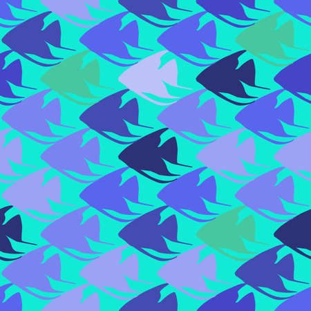 scalar: Seamless pattern with scalar fishes, fully editable. Sea or aquarium background