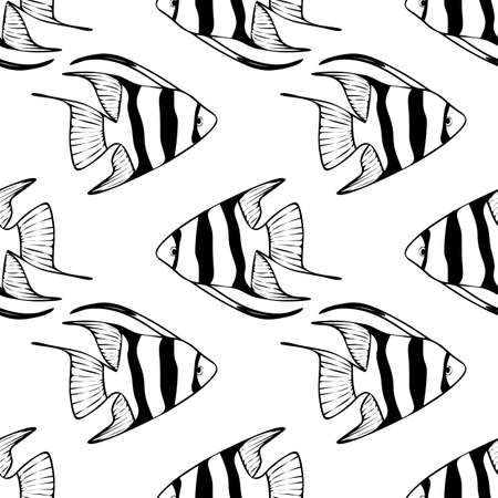 scalar: Seamless pattern with scalar fishes, fully editable . Sea or aquarium background